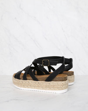 Strappy Sporty Espadrille Flatform Sandal Wedges - BLACK