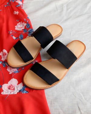Harmony Double Strap Faux Suede Sandals in Black