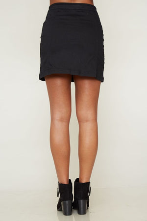 woven side button up essential mini skirt - black