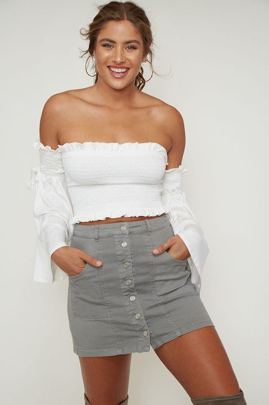 Woven Button Up Essential Denim Mini Skirt with Front Pockets in Grey