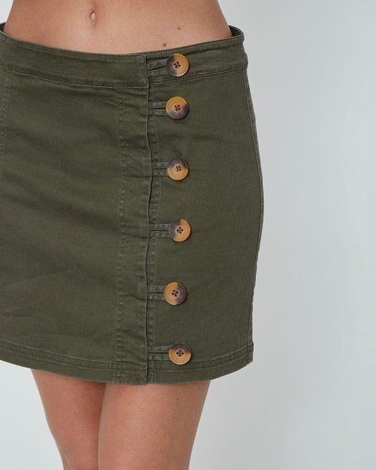 woven side button up essential mini skirt - olive