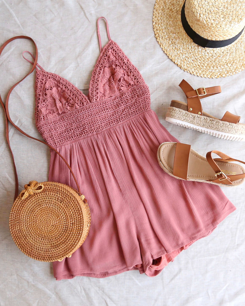 solid lace inset romper - light mauve