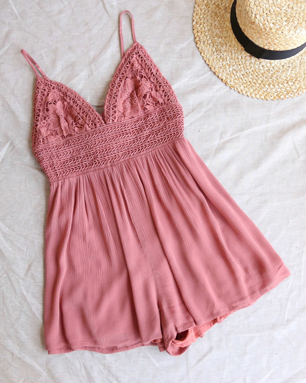 Solid Lace Inset Romper in Light Mauve