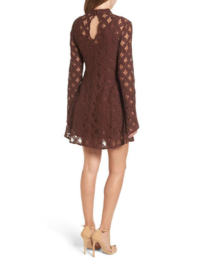 Final Sale - Somedays Lovin - Crimson Hearts Lace Dress in Burnt Red