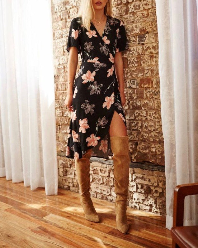 Final Sale - Somedays Lovin - Dark Paradise Wrap Dress in Multi Floral
