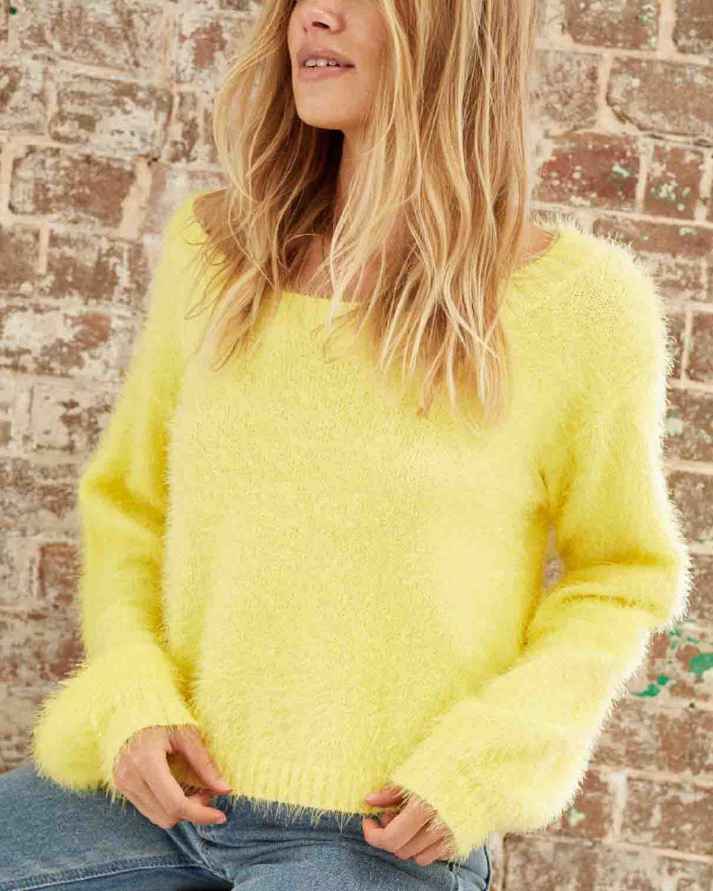 Final Sale - Somedays Lovin - Clover Fields Knitted Fuzzy Jumper/Sweater in Marigold