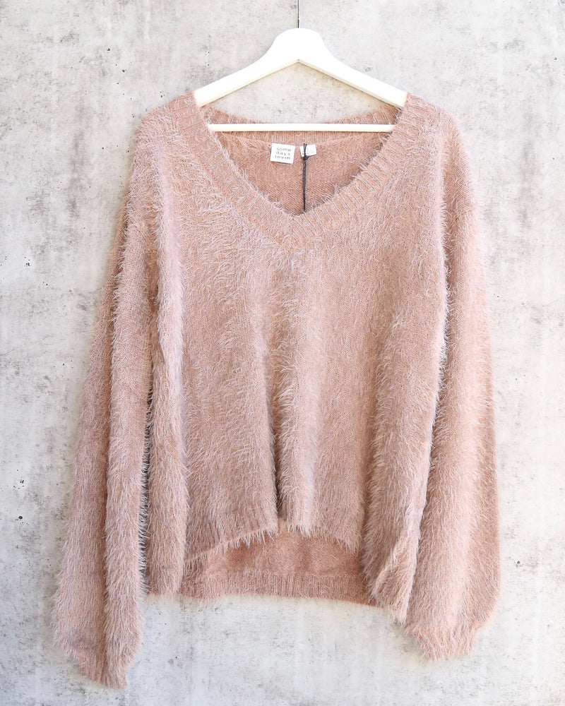 somedays lovin - colours of dawn eyelash fuzzy jumper sweater - taupe