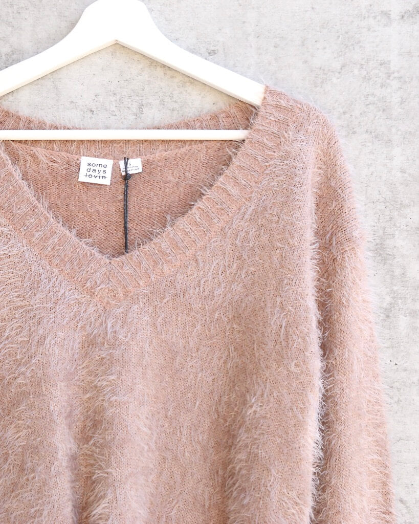 Final Sale - Somedays Lovin - Colours of Dawn Eyelash Fuzzy Jumper Sweater in Taupe