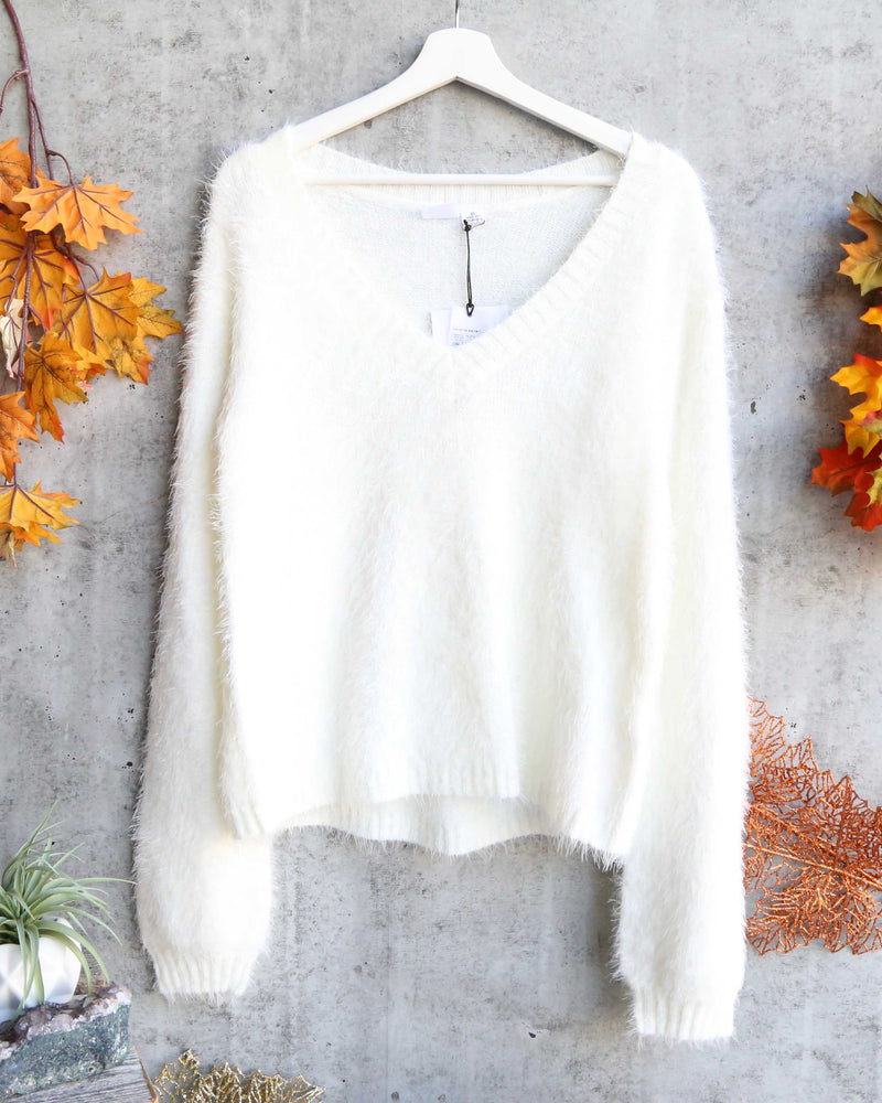 somedays lovin - heartbreaker fuzzy eyelash sweater - ivory