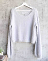 somedays lovin - clover fields knitted fuzzy jumper/sweater - grey