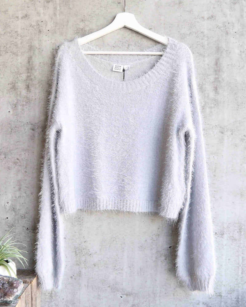 Final Sale - Somedays Lovin - Clover Fields Knitted Fuzzy Jumper/Sweater in Grey
