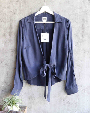 Somedays Lovin - Downtown Tie Front Shirt in Midnight Navy