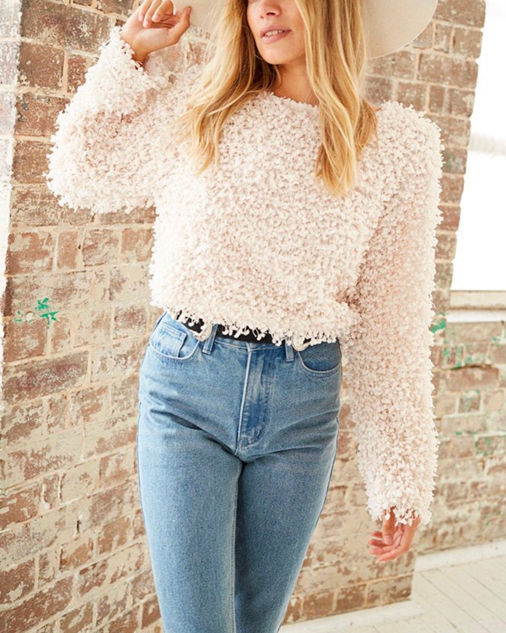Final Sale - Somedays Lovin - Glorious Shaggy Cropped Sweater Top in Cream