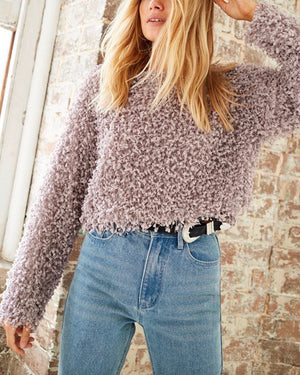 somedays lovin - glorious shaggy cropped sweater top - dove grey