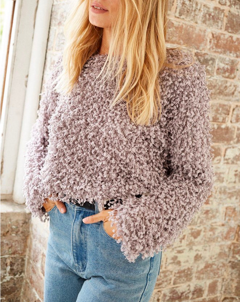 Final Sale - Somedays Lovin - Glorious Shaggy Cropped Sweater Top in Dove Grey