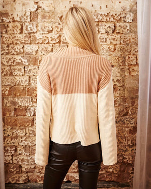 somedays lovin - like a melody jumper ribbed bell sleeve sweater - cream/dusty pink