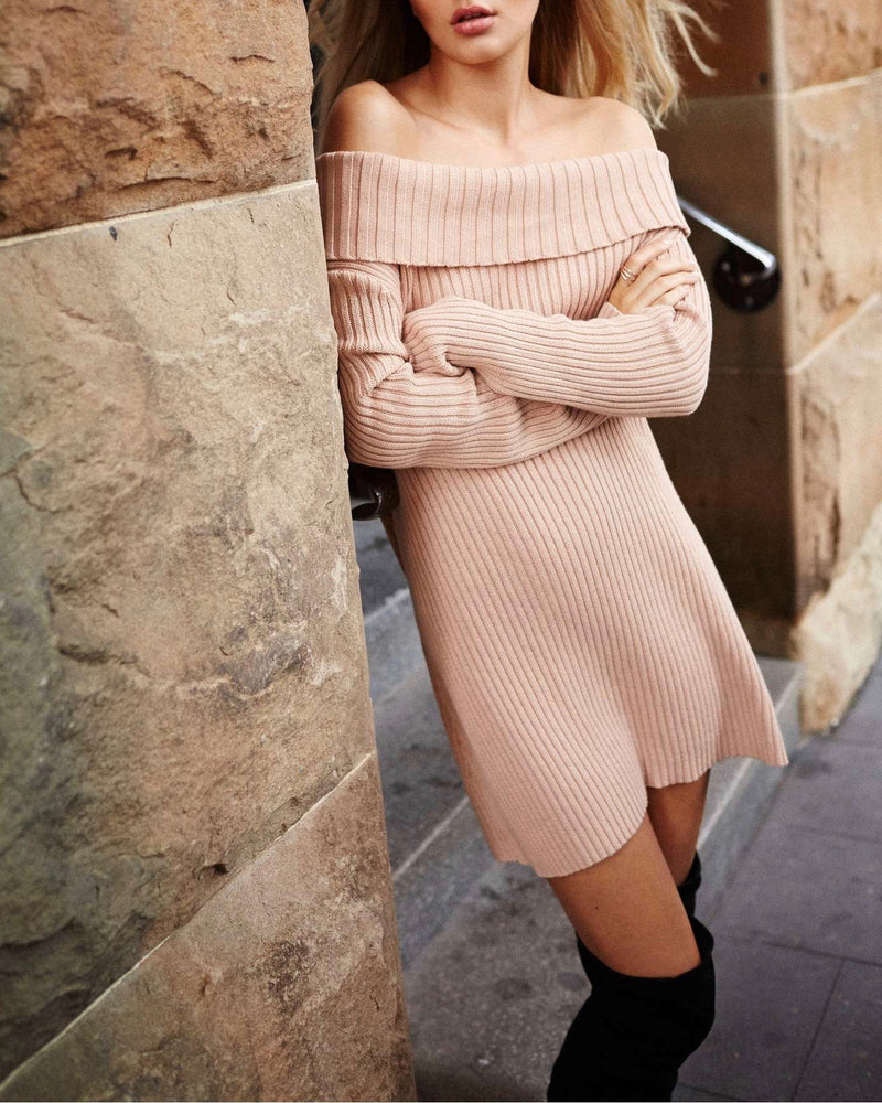 Final Sale - Somedays Lovin - Like a Melody Knitted Off The Shoulder Sweater Dress