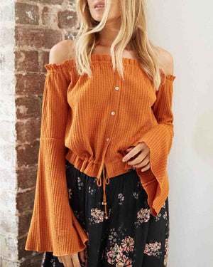 somedays lovin sky for love off the shoulder blouse in golden spice