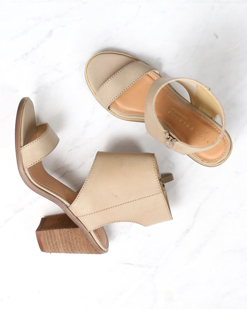 South Open Toe Heeled Sandals in Taupe