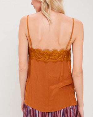 spaghetti strap lace detailed camisole - gucci gold