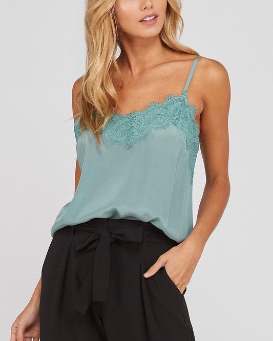 Spaghetti Strap Lace Detailed Camisole in Mint