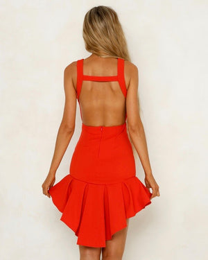 Square Neck Bodycon Frilled High Low Hem Dress in Red
