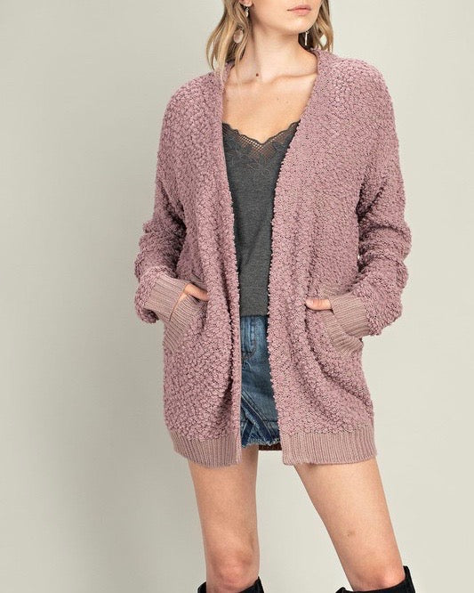 stella - teddy bear popcorn yarn fuzzy open front sweater cardigan - mauve