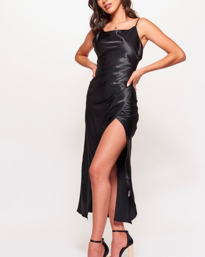 strapless cowl neck satin maxi dress with side slit in black