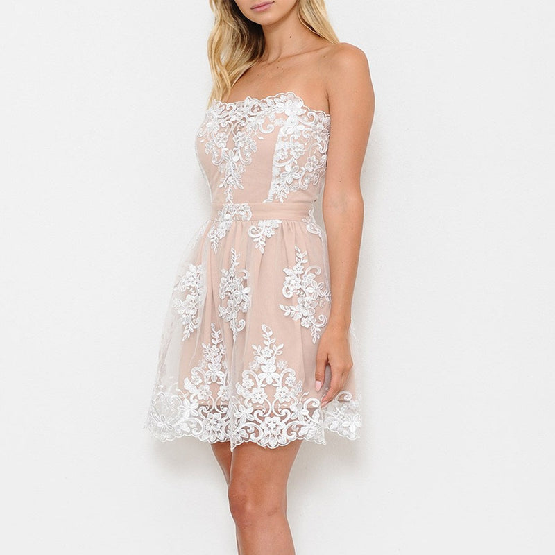 Love Letters Strapless Dress in Nude/Ivory