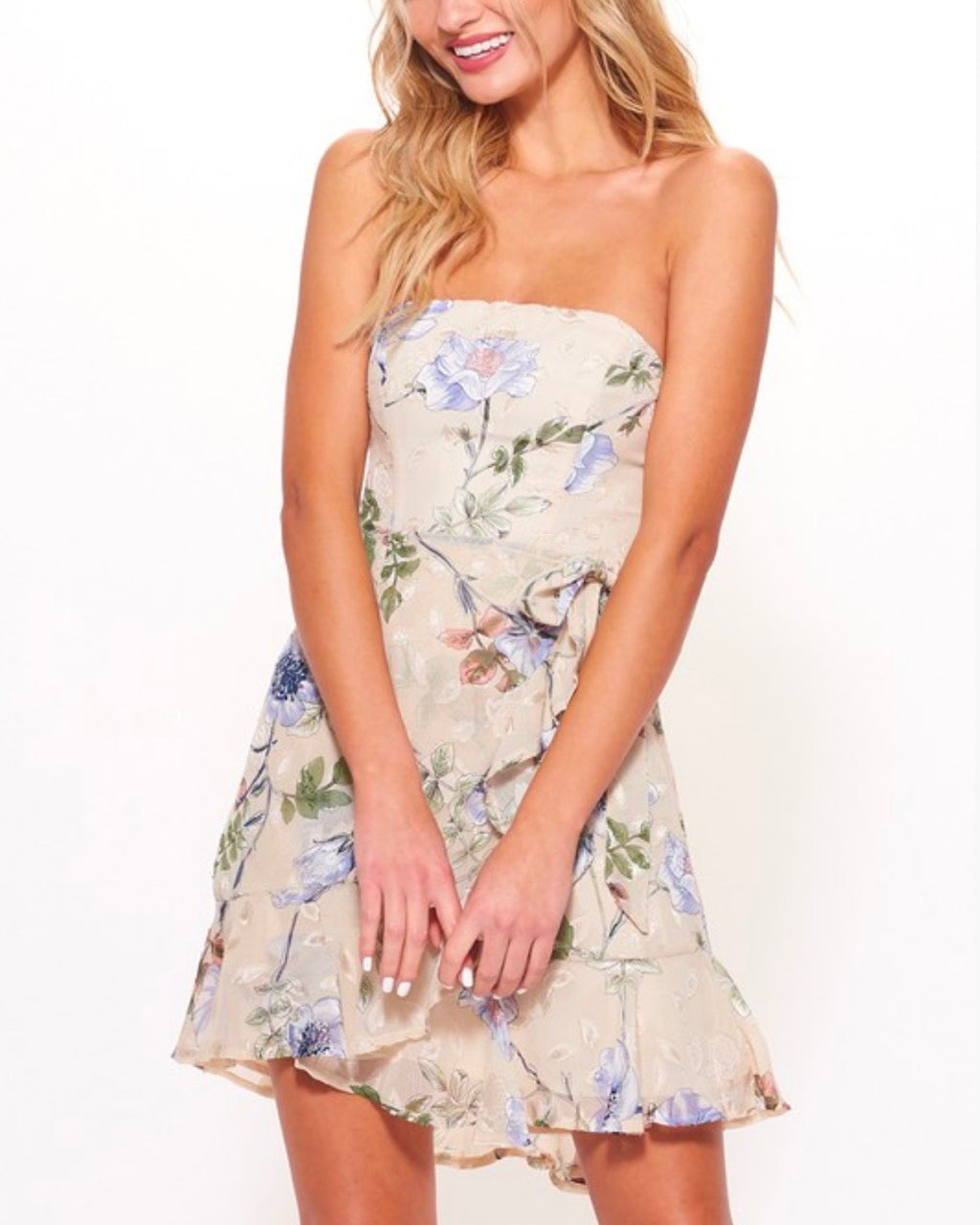 strapless floral ruffled wrapped mini dress in beige