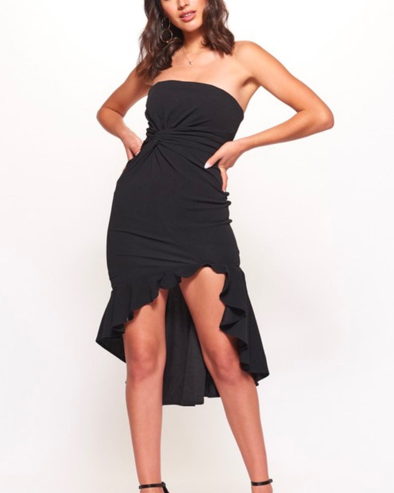 strapless ruffled bodycon dress with gathered front and side high low hem in black