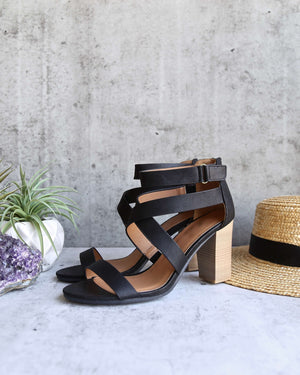 Lucite Vegan Strappy Block Heel Sandals in Black