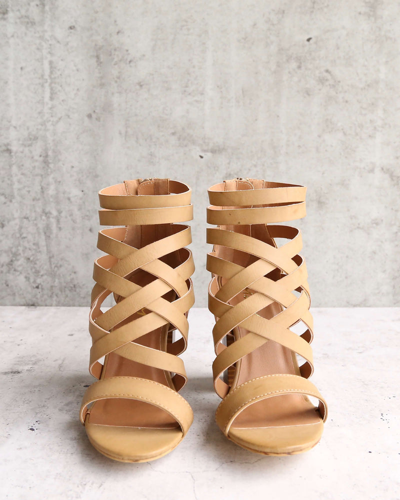 Final Sale - Strappy Stacked Heel Sandals in Khaki