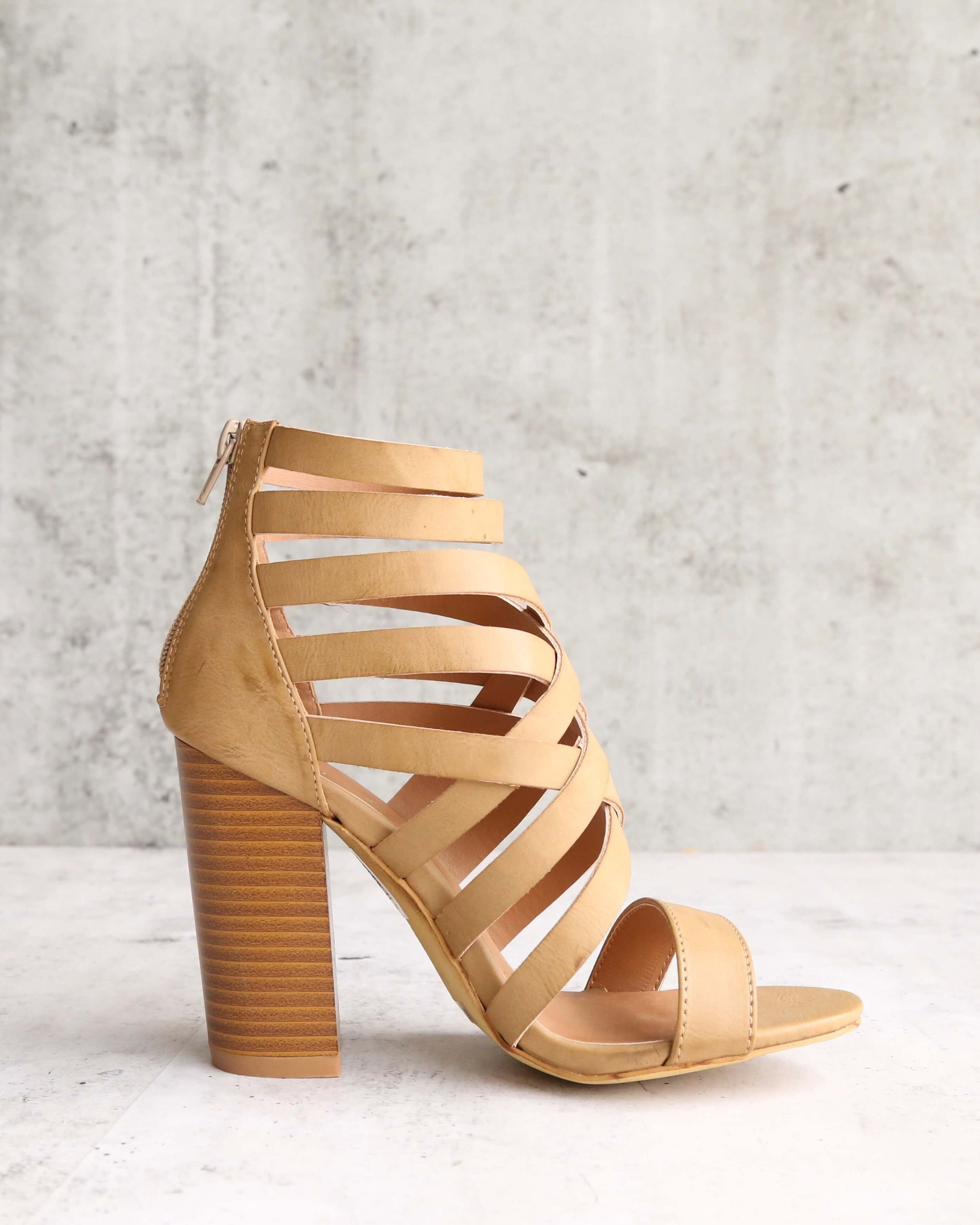 outlet online finest selection brand new final sale - strappy stacked heel sandals - khaki