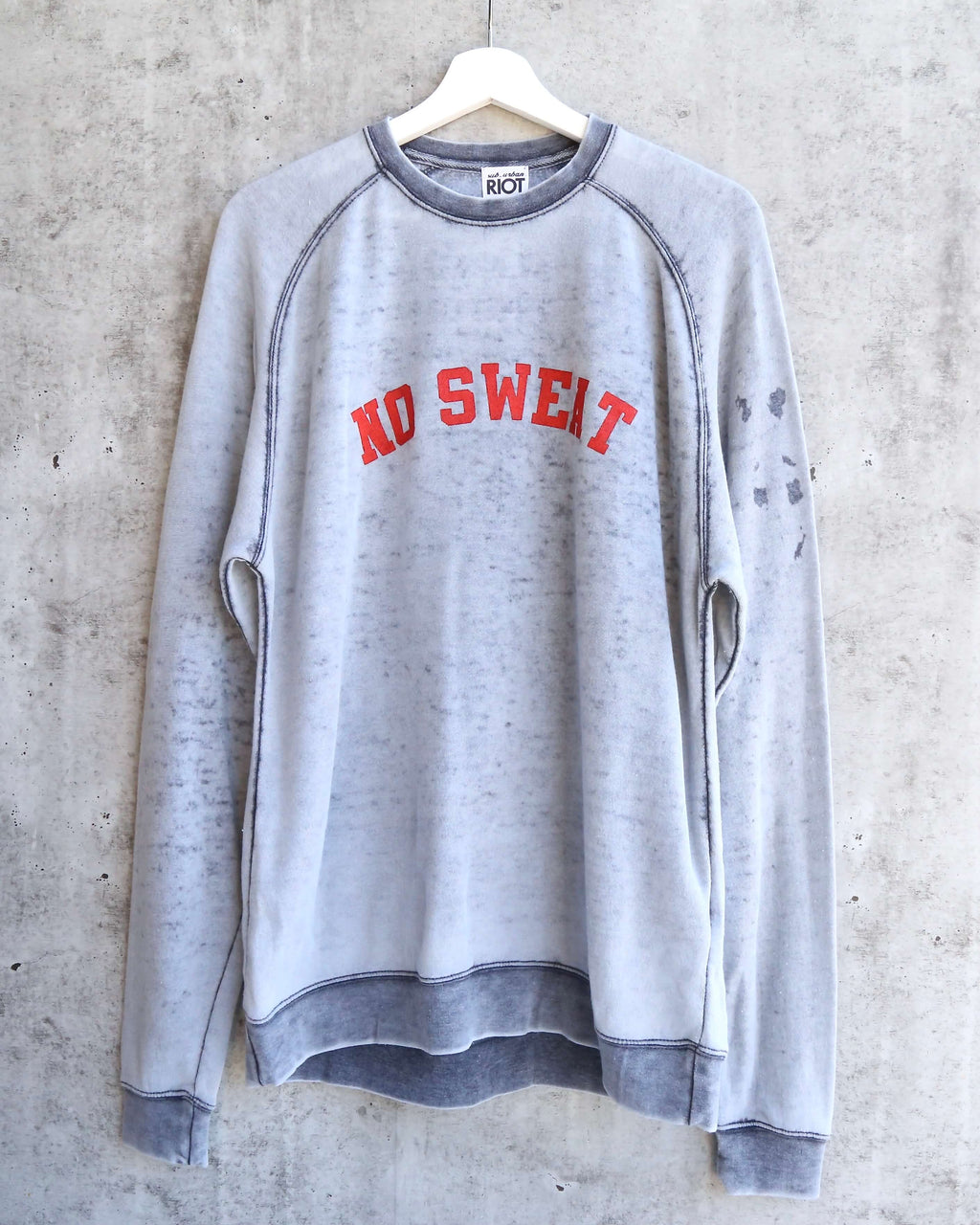 suburban riot - no sweat burnout wash unisex sweatshirt - slate grey