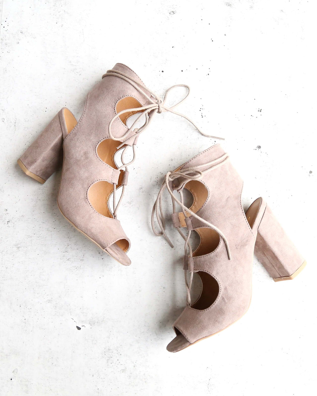 suede lace-up heel sandal - taupe