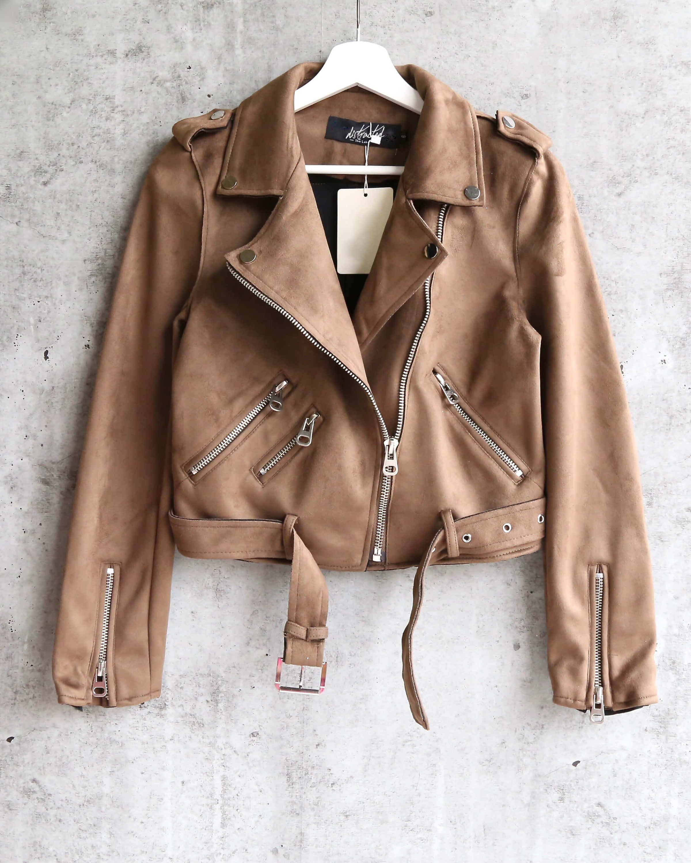 fa0f4c9df suede with love cropped moto jacket - olive brown