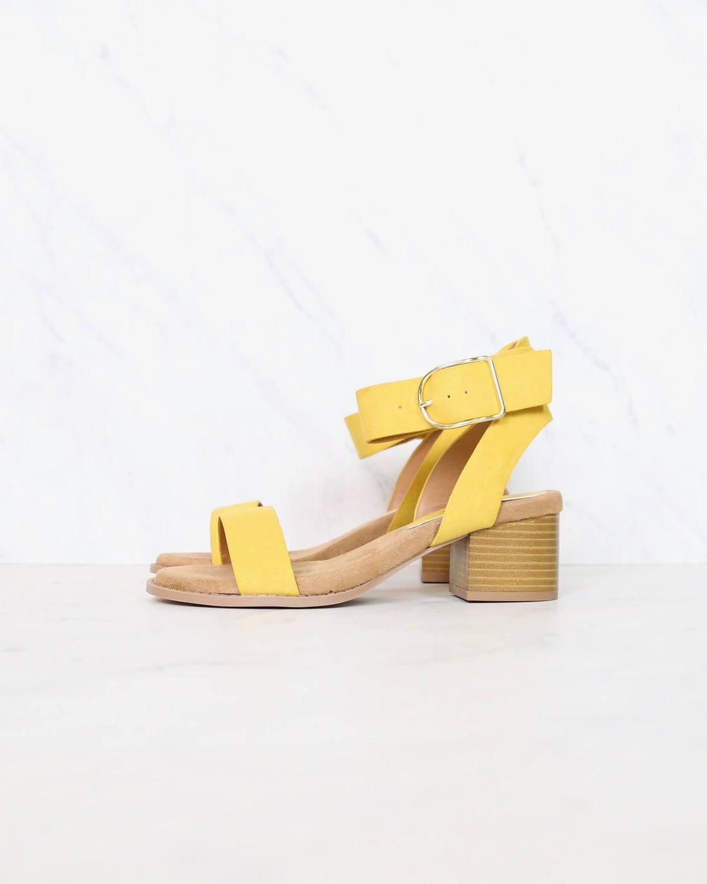 summer breeze ankle strap sandals in yellow