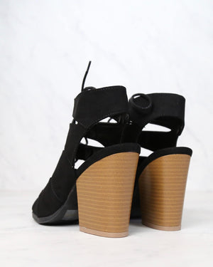 Summer Nights Cut Out Laced Up Block Heel Sandals in More Colors