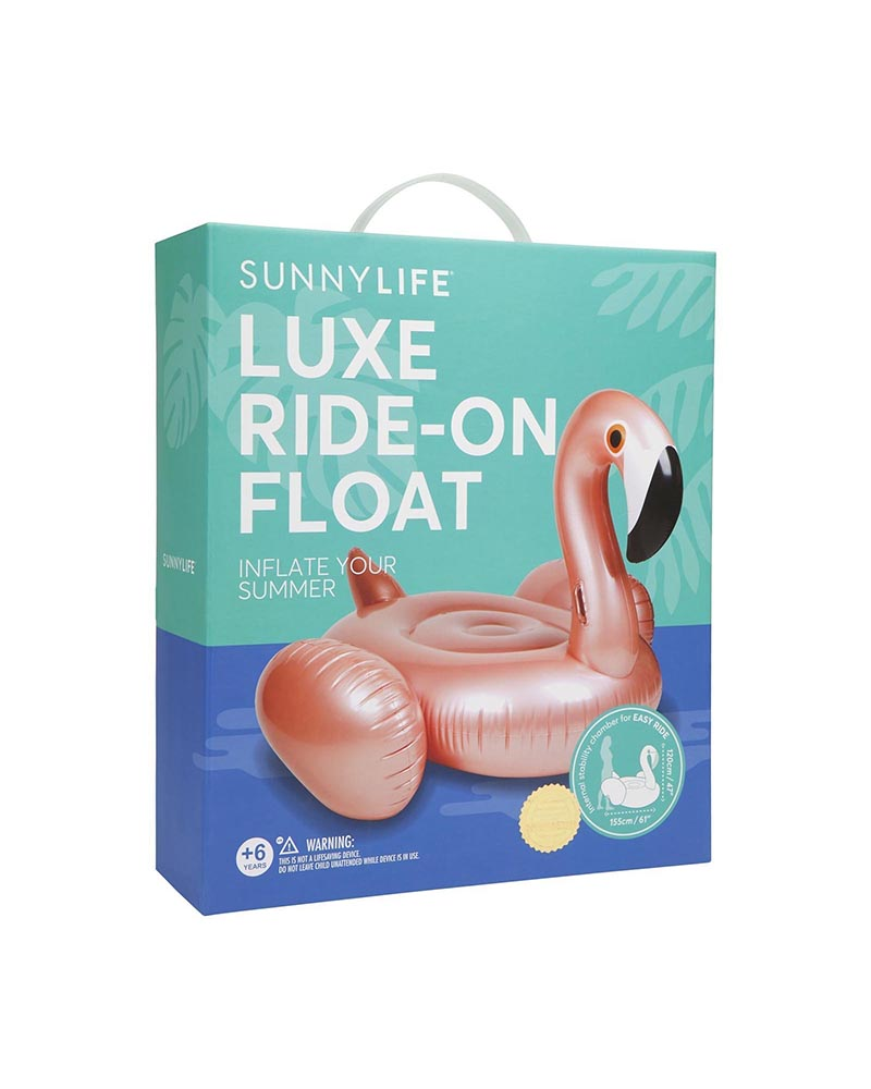 sunnylife - luxe ride-on adult float - rose gold flamingo