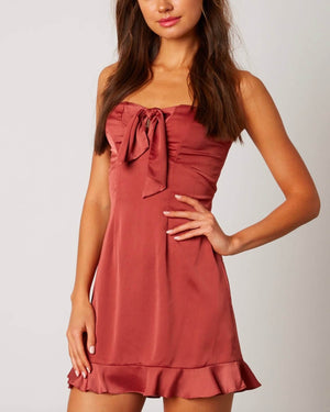 sweetheart strapless satin mini dress with ruffle trim - rose