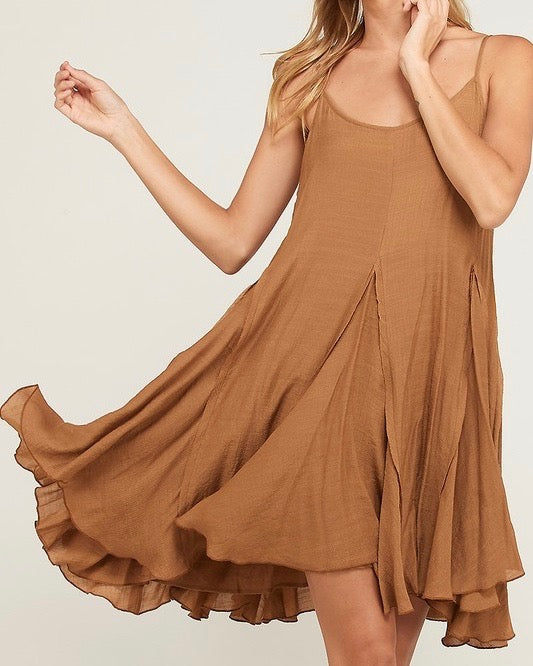 coming up for air - flowy dress - tan