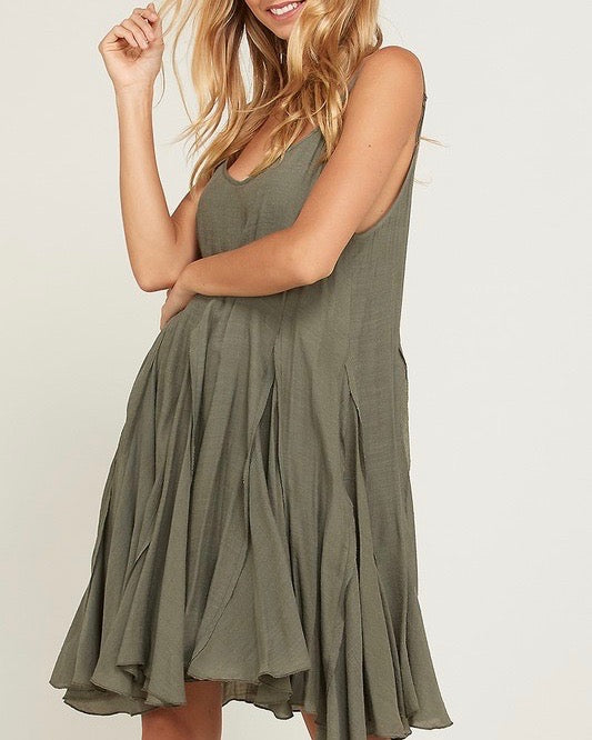 Final Sale - Coming Up For Air Flowy Dress in Olive