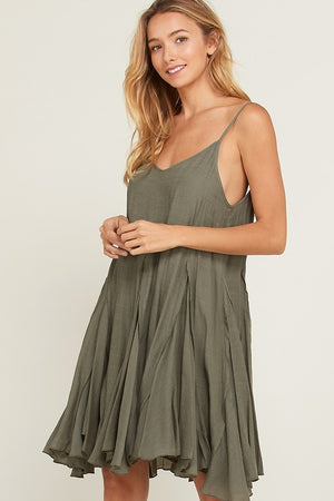 coming up for air - flowy dress - olive