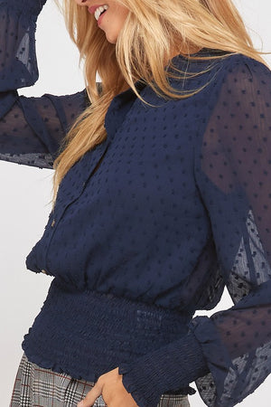 Swiss Dot Button Down Sheer Sleeve Blouse with Smocked Waist in Navy