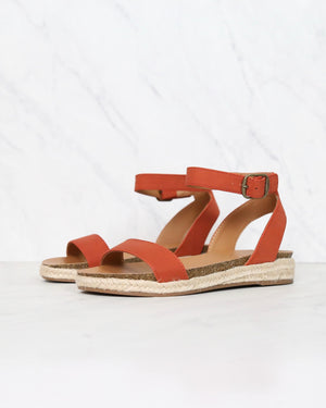 single band platform espadrille sandals with ankle strap - burnt orange