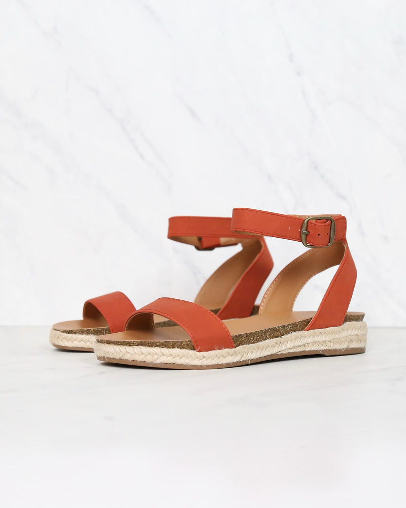 Single Band Platform Espadrille Sandals With Ankle Straps in Burnt Orange