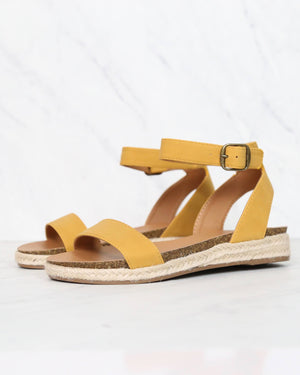 single band platform espadrille sandals with ankle strap - mustard