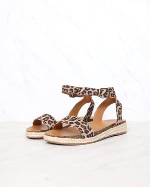 Single Band Platform Espadrille Sandals with Ankle Straps in Oat Cheetah