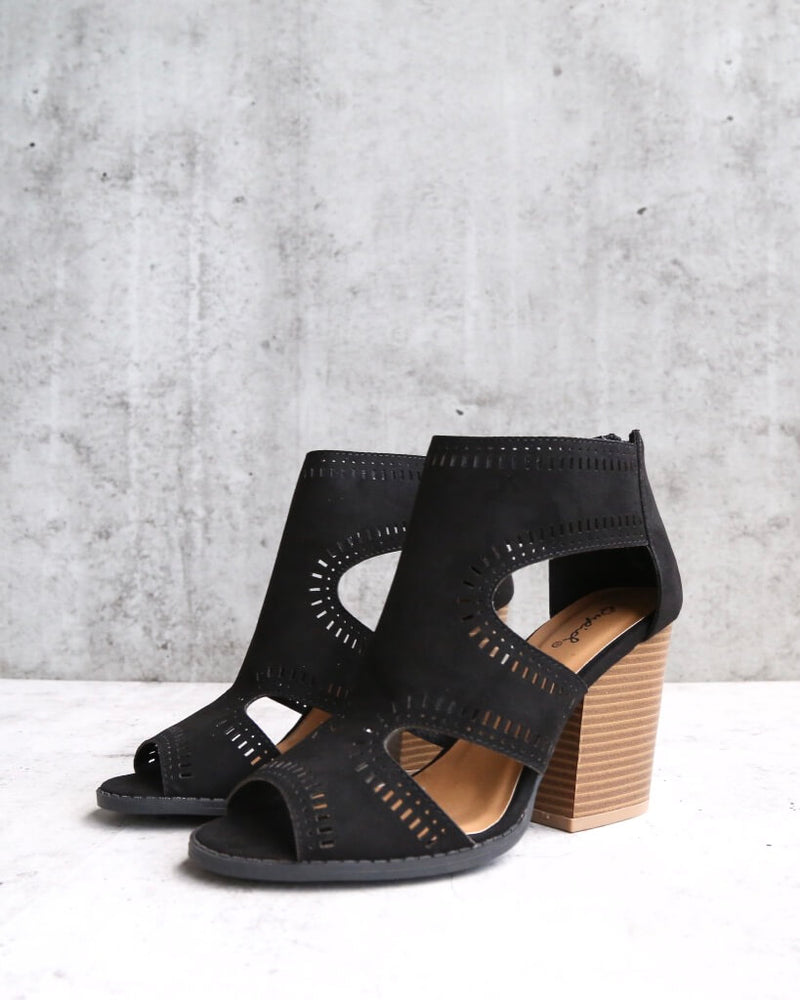 talk around town perforated booties - black
